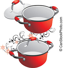 Two empty red pans Vector illustration
