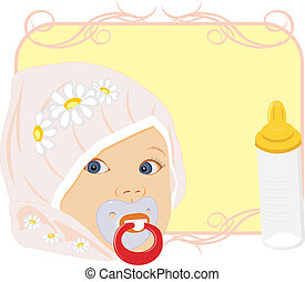 Portrait of the baby with bottle for milk. Card. Vector...