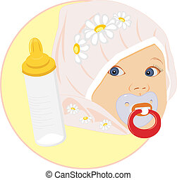 Portrait of the baby with bottle for milk. Sticker. Vector...