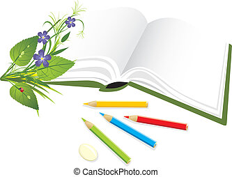 Book, pencils and bouquet of flowers with ladybird. Vector...