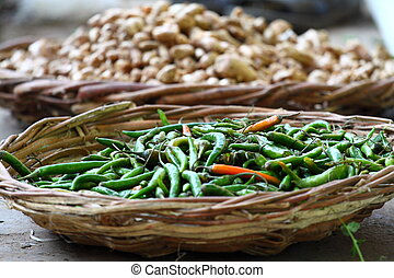 Green paprica in traditional vegetable market in India