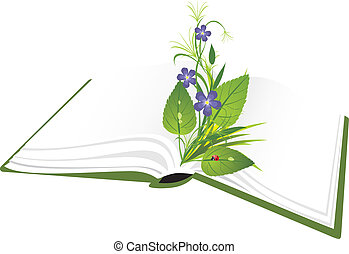 Book and bouquet of flowers with ladybird. Vector...