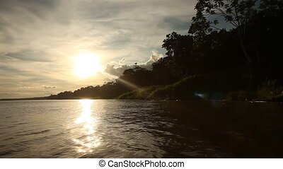 Sunset At Amazon River