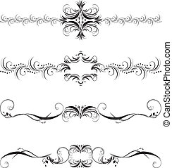 Four patterns for borders. Black isolated on the white....