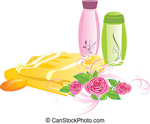 Roses and set for bathing - Bouquet of roses and set for...