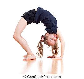 jeune, girl, gymnastique, sur, blanc, fond
