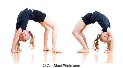 two young girls doing gymnastics over white background -...