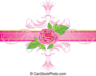Pink rose with ornament. Border