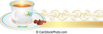 Cup with tea and candies on the golden ribbon. Vector...