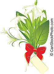 Bouquet of snowdrops with bow