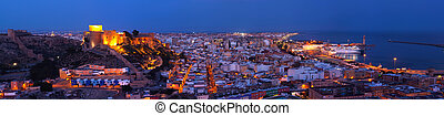 Panoramic view to night with the Citadel of Almeria -...