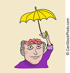 Creative concept of mind care and protection. Metaphor artistic illustration