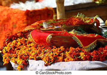 floral arrangment for holi festival and religious offerings...