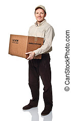 fast shipping - delivery man on white with box