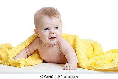 cute baby boy in yellow towel on white