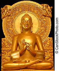 Statue of golden Buddha at Sarnath - Statue of a golden...