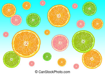 colorful slices of citrus fruits