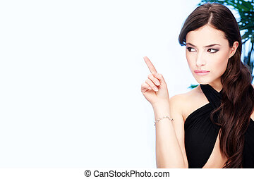 woman point with her index finger - Pretty woman point with...