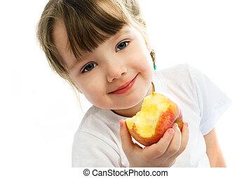 little girl eating an apple - adorable little girl eating an...