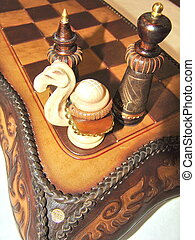 Kyrgyz chess set made from wood - Kyrgyz chess set made from...