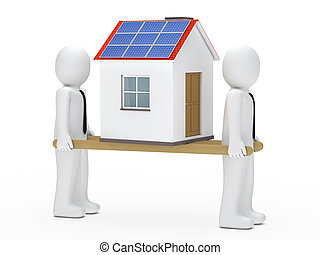 men house on ladder - men hold house with solar on ladder