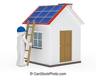 man hold ladder on house with solar