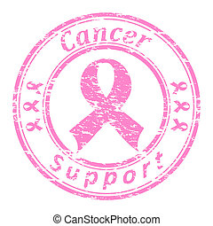 Vector illustrator of a grunge rubber stamp with pink ribbon...