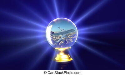 crystal ball future plane - traveling idea