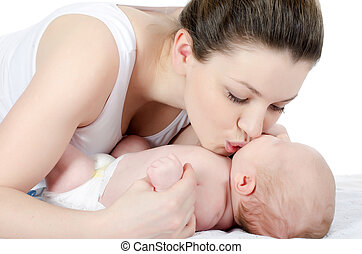 happy mother with baby over white - The happy mother with...