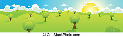 Cartoon Spring Or Summer Landscape Header - Illustration of...