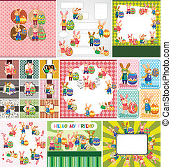 Easter rabbit and egg card