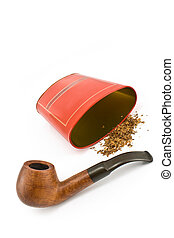 Tobacco pipe with red tin box