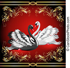 White and black swan on red background