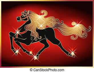 Galloping horse with a gold mane - Galloping black horse...