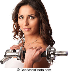 Young fit girl working out with weights - Portrait of pretty...