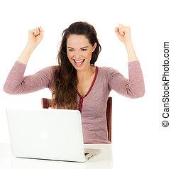 Portrait of happy female using laptop - Closeup portrait of...