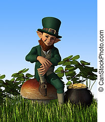 Leprechaun Sitting on Toadstool - A leprechaun is relaxing...