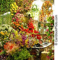 Flower stall in Kolkata, India - Vibrant flower stall in a...