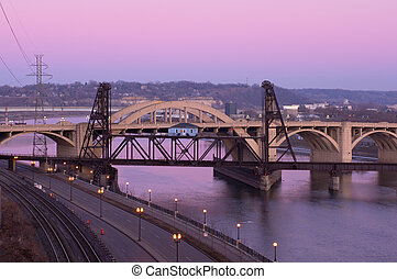 Vertical Lift Bridge and Robert Street at Dusk - Vertical...