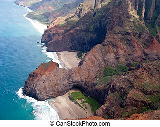 Na Pali coast of Kauai - Aerial image of the inaccessible...