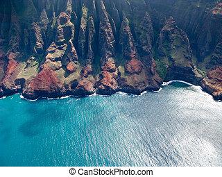 Na Pali coast of Kauai - Aerial image of the inaccessible...