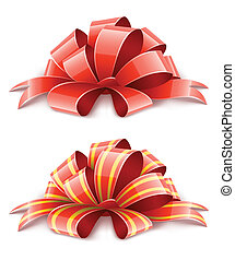 two red ribbons for gifts decoration