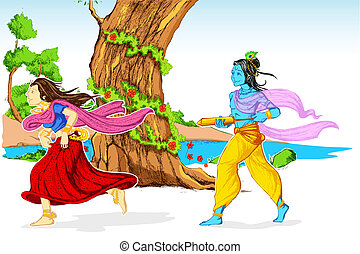Radha, krishna, tocando, Holi