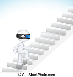 3d Business Man climbing Stair