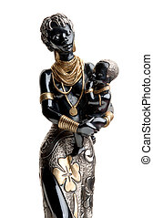 statuette African woman with a baby - porcelain statuette...