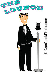 retro style crooner - jazz singer from 50s in tuxedo and bow...