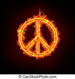 peace sign in burning fire flames.