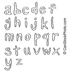 handwritten alphabets, in small letters.