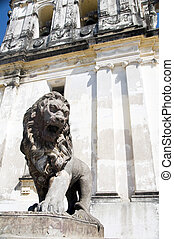 lion statue Cathedral of Leon Nicaragua - iconic lion statue...