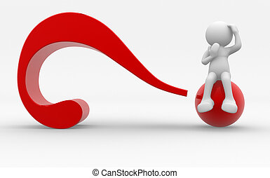 Question mark - 3d people - human character , person and a...